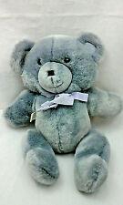 "Gray Teddy Bear Vintage 1989 Graphics Int'l Plush 14"" Toy Lovey Ribbon Bow Korea"