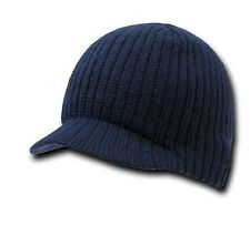 Navy Blue Campus Beanie Cap Knit Skully Winter Hat Radar Style Jeep Ski Brimmed