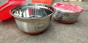 Gourmet by Keenox Stainless Steel Bowls With Lids and Non-Skid Rubber Bottom