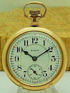 Clean Antique Elgin BW Raymond Railroad High Grade 455 19 jewel pocket watch
