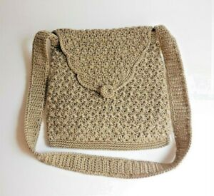 Taupe/Tan Nylon Crochet Shoulder Bag Purse Button Flap Fully Lined 9 x 9 x 1.5