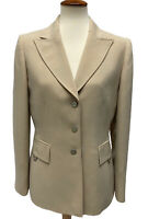 Women's Tahari Arthur S Levine Blazer Beige Button Jacket sz 8
