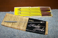 Vintage Fondue Forks Set of 6 Stainless Steel Wood Handle