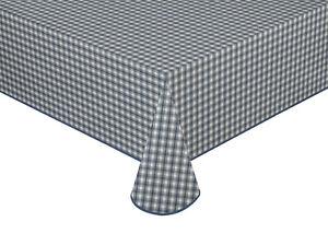Wachstuch Tischdecke Mitteldecke Blau/Weiß kariert mit Paspelband versch. Größen