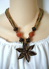 Cookie Lee Multi Strand Orange Brown Copper Flower Pendant Beaded Necklace 16""
