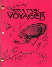 STAR TREK VOYAGER script signed by 9 stars Garrett Wang, Robert Duncan McNeill