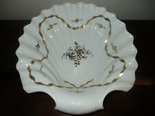 """Antique 12.5"""" French Scalloped Shell Centerpiece Bowl, Gold Gilt & White, France"""