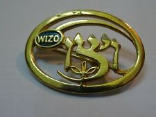 israel pin brooch wizo vintage rare ויצו  GOLD PLATED RARE CUT