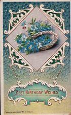 1912 Unused Heymann Best Birthday Wishes FORGET-ME-NOTS Vintage Postcard