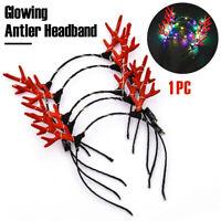 Christmas Reindeer Antlers Costume Ear Hair headband Light Luminous Decor Prop