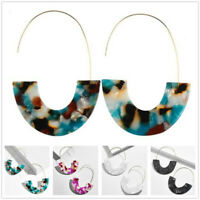 Fashion Women Acrylic Brass Hoops Earrings Bangle Drop Earrings Jewelry Gifts