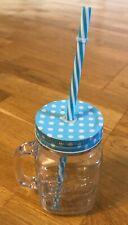 Masons Mug with integral washable straw and lid.