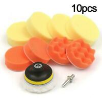 "10PCS 3"" Polishing Pad + Hand Buffer Set with Drill Polish For Car Adapter M4D5"