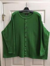 Eskandar O/S 1x 2x Emerald 100% Cashmere Round Neck Button Down Cardigan Sweater