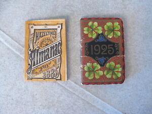 Vtg Dollhouse Miniature Books Hazeltine's Almanac 1885 & 1925 Calendar