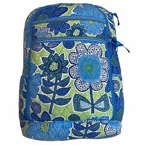 VERA BRADLEY LAPTOP BAG BACKPACK PATTERN DOODLE DAISY FLORAL BLUE GREEN (USED)