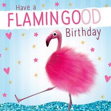 Pink Flamingo 3D Fluff Handmade Luxury Birthday Greeting Card Bird Animal Lovers