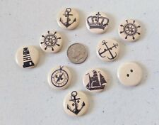 """Lot of 10 NAUTICAL 2-hole Wood Buttons 11/16"""" (18mm) Scrapbook Craft (1107)"""