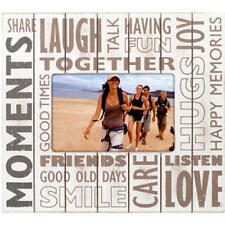 "NWT Malden ""Moments"" Tabletop Picture Frame-Silkscreen on Distressed Wood 4 x 6"""