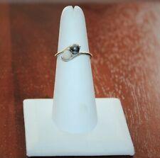 MAGIC GLO Black White Pearl 10k White Gold Bypass Ring - Size 6 1/2