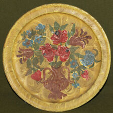 Vintage hand painted floral wood plate