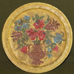 Vintage hand painted floral wood plate