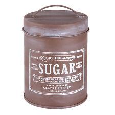 Clayre&Eef dose Inventaire sucre métal brun crème déco Shabby maison de campagne