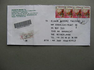 INDONESIA, R-cover to the Netherlands 2003, strip of 4 christmas flowers