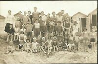 BEACH SCENE CUTE CHILDREN SOCIAL HISTORY HATS OUFITS PC RPPC ANTIQUE POSTCARD