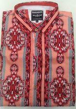 Mens BARABAS Designer Shirt Woven EL CHAPO RED AZTEC Button Up CLASSIC FIT 6021