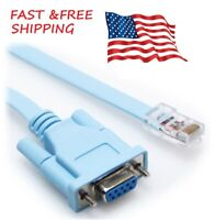6 Ft Blue DB9 Female to RJ45 Male Rollover Console Cable for Cisco 72-3383-01 US