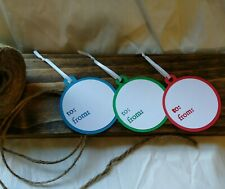 Handmade Christmas Gift Tags - set of 12 - Red/Blue/Green