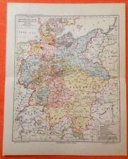 DEUTSCHLAND Deutscher Bund 1815 - 1866 Historische LANDKARTE  v.1905
