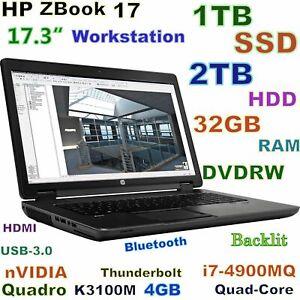 """Workstation HP ZBook 17 i7-Quad (1TB SSD + 2TB) DVDRW 32GB 17.3"""" K3100M 4GB"""
