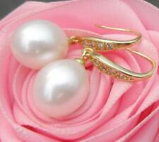 2018 A PAIR OF NATURAL AAA++ 10-12MM SOUTH SEAS WHITE PEARL EARRINGS