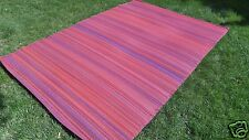 NEW OUTDOOR Stripe RECYCLED Geometric Modern RED PINK PURPLE Area Rug 6x10 USA
