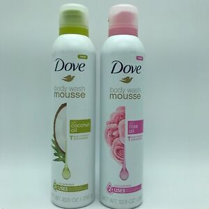 2 Dove Body Wash Mousse Coconut Oil & Rose Oil, Also Good for Shaving 10.3 oz ea
