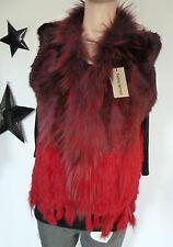 Echte dichte Kaninchen  Fell Weste  Gothic rot  Farbverlauf  36-40 Gypsy Boho