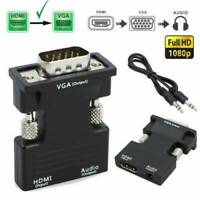 HDMI Female to VGA Male Converter + Audio Adapter Support 1080P Signal Output,