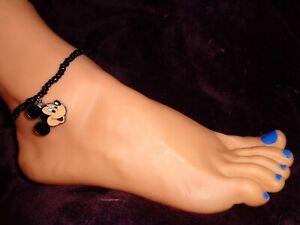 MICKEY MOUSE enamel charm ankle bracelet beads anklet stretchy beach