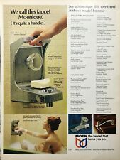 1969 MOEN Faucet That Turns You On - Nude Woman Bath Color Photo Ad 10x13 LIF