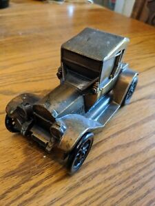 1915 FORD MODEL T HEAVY METAL BANK TOY CAR BANTHRICO VTG ANTIQUE TIN BRASS RARE