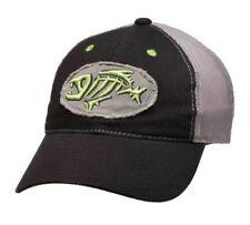 G Loomis Distressed Oval Hat Cap Black w/ Gray Mesh Back & Fish Bone Logo OSFM