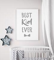 Best Kid Ever Grey Learning Nursery Print Kids Room Boys Wall Art Picture Gift