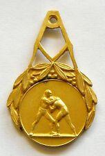 g094 Romania 1920's WRESTLING Championship Sports Naked Nude Man gilt Medal