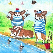 4X4 Print Of Painting Ryta Pembroke Welsh Corgi Beach Sailboat Folk Art Gift Dog