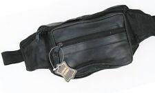 Black Solid Leather Waist Fanny Pack Belt Bag Travel Hip Purse Mens Women 03