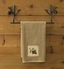 "Pine Lodge 16"" Bath Towel Bar by Park Designs - Rustic Brown w/ Pine-cone Branch"