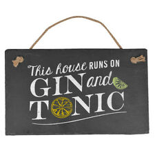 Hanging Slate Plaque Sign Family Bedroom Kitchen Home Rustic Wall Door Message 59492 This House Runs on Gin & Tonic