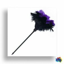 One  black and purple soft  ostrich feather duster 60cm overall plastic handle